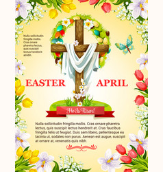 easter crucifix cross and paschal wreath vector image vector image