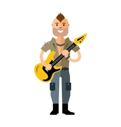 Rock Guitarist Flat style colorful Cartoon vector image vector image