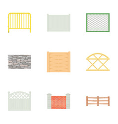 urban fence icons set cartoon style vector image vector image