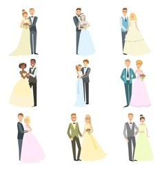 Couples Posing Together On Wedding Day vector image vector image