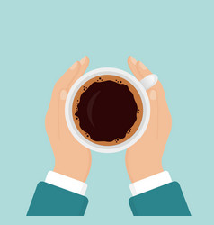 hands holding hot coffee vector image vector image