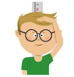 little nerd boy measuring height himself vector image