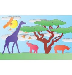paper animals in africa vector image vector image