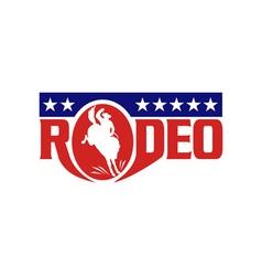 Rodeo cowboy riding a bucking bronco vector