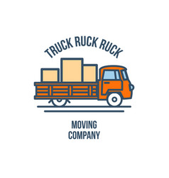 truck with cargo moving company logo vector image