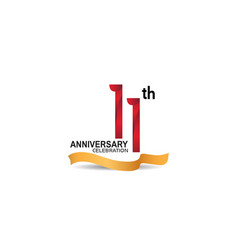 11 anniversary design logotype red color vector