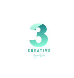 3 three green pastel gradient number numeral vector image