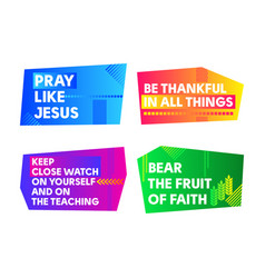 A set of bright colored christian banners vector
