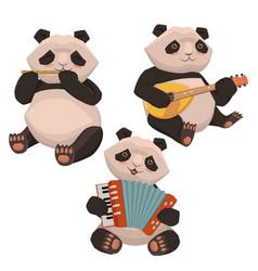 a set pandas playing musical instruments image vector image