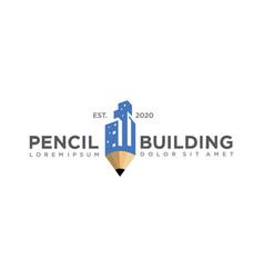 Architec building with pencil logo design vector
