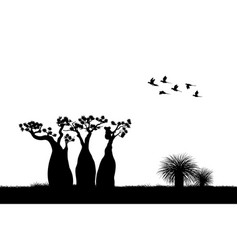 Australian landscape black silhouette koala vector
