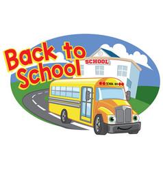 Back to school design with happy cartoon school vector