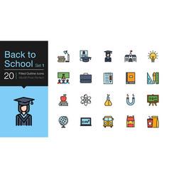 back to school icons set 1 filled outline design vector image