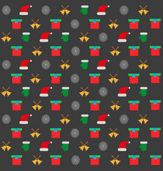 background with christmas icons on a black vector image