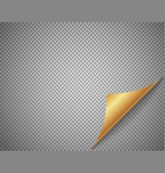 Bending gold paper element on transparent vector