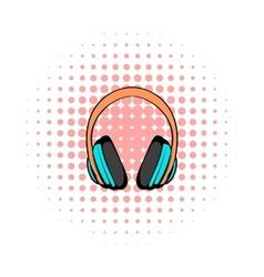 Big headphones comics icon vector