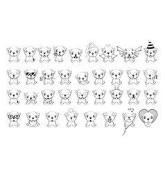 big set of little dogs with different emotions and vector image
