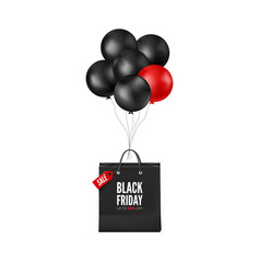 black friday poster with discount black and red vector image