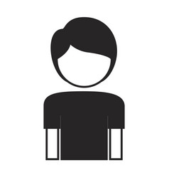 Black silhouette of boy half body and faceless vector