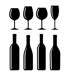 Bottle and glass set vector