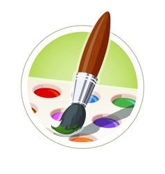 Brush and set of paint vector image