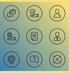 business icons line style set with offer privacy vector image