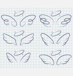 Cartoon angel wings doodle icon set vector