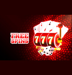 casino free spins slots neon icons golden slot vector image