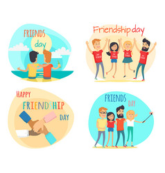 celebrating friendship day concepts set vector image vector image