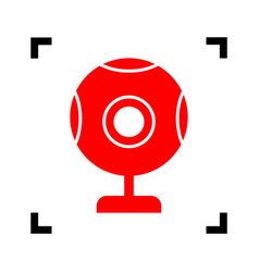 chat web camera sign red icon inside vector image