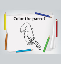 children parrot coloring worksheet vector image