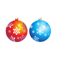 Christmas balls with snowflakes vector
