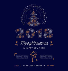 christmas party flyer holiday 2018 printable vector image