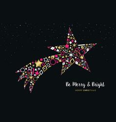 Christmas shooting star made of gold icon set vector