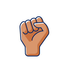 clenched fist rgb color icon vector image