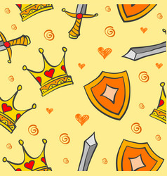 collection crown pattern style vector image