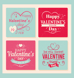 colorful valentines day grunge cards template vector image