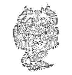 coloring book page with funny cartoon shy monster vector image