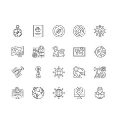 compass line icons signs set outline vector image