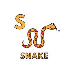 Cute cartoon animals alphabet snake vector