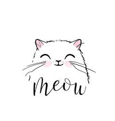 Cute cat print design meow lettering text vector
