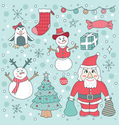Cute children christmas set vector