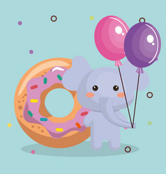 cute elephant with balloons air party sweet kawaii vector image