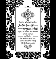 Damask victorian brocade for wedding invitation vector