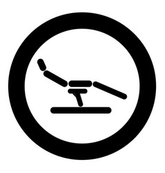 Dentist chair icon black color in circle or round vector