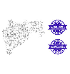 Dotted map of maharashtra state and distress stamp vector