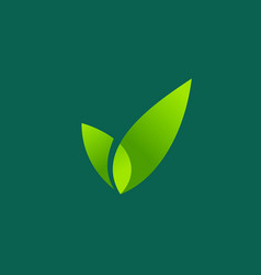 eco leaves check mark logo icon design template vector image