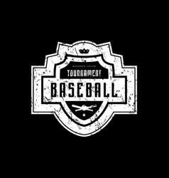 emblem of baseball tournament with vintage texture vector image