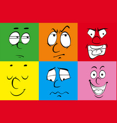 facial expressions on colorful squares vector image
