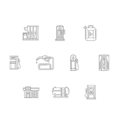 Filling and charge station flat line icons vector image